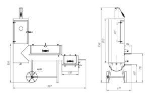 Чертеж дымогенератора из газового баллона