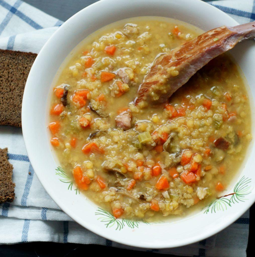 Грибной чечевичный суп