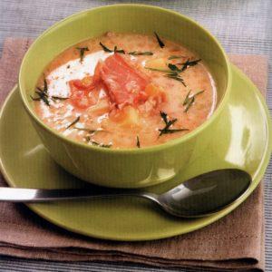 Суп из копченой красной рыбы