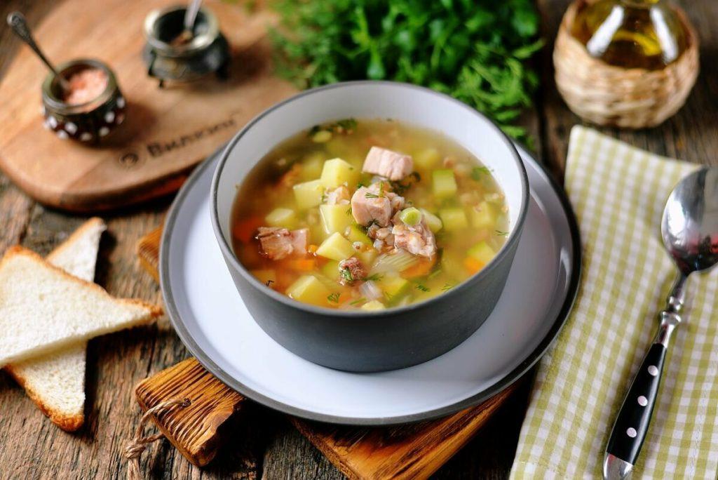 Суп из копченой курицы